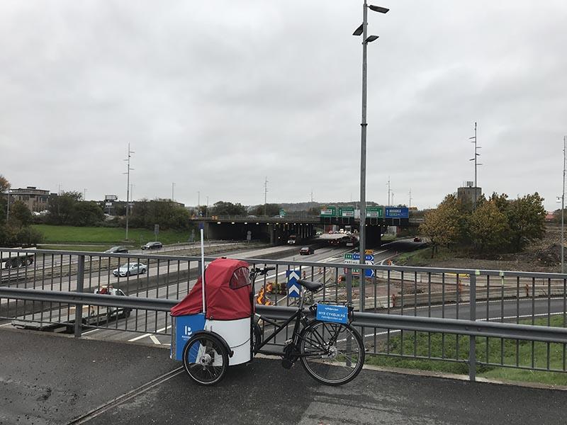 Kville Lådcykelpool vid Tingstadstunneln